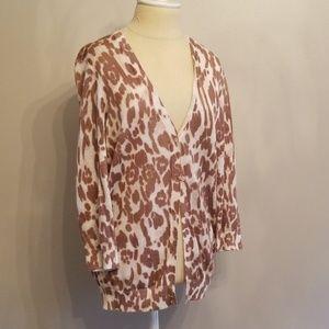 Ann Taylor ~ Animal Print Cardigan Sweater